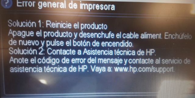 HP T120, T520 fallo error general impresora